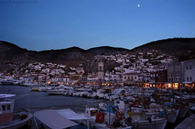 Hydra town after the sunset -
